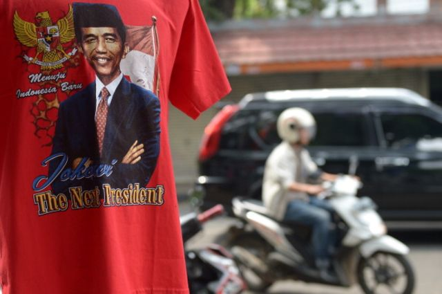 A T-shirt featuring presidential candidate Joko Widodo.