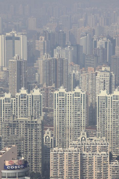 Real estate developments stand in downtown Shanghai