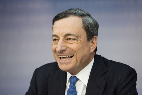 ECB President Mario Draghi reacts whilst speaking during a news conference where he unveiled historic measures to face down inflation, in Frankfurt today. Photographer: Martin Leissl/Bloomberg
