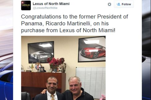A Lexus dealer in Miami tweeted this shot of Martinelli on May 20.
