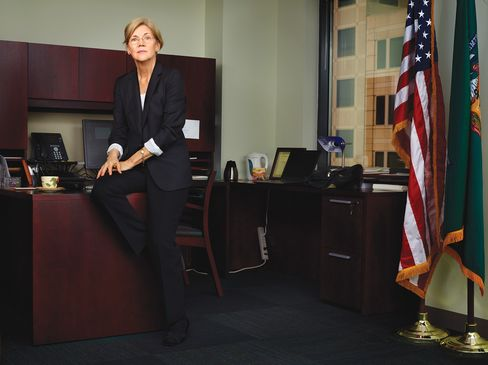 Elizabeth Warren in her Washington office. Warren has infuriated bankers and alienated half of Washington, all in the name of a new consumer protection agency she may not get to run. Photographer: Martin Schoeller/Bloomberg Businessweek