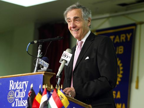 A file photo shows Oklahoma energy billionaire George Kaiser speaking at the Rotary Club of Tulsa on July 8, 2009. Photographer: Tom Gilbert/The Tulsa World via AP Photo
