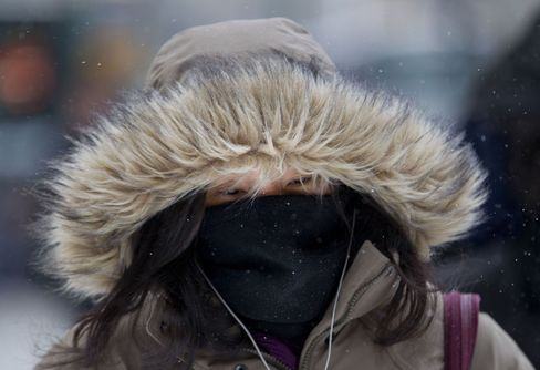 A Pedestrian Covers her Face to Keep Warm in New York