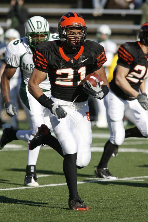 Jordan Culbreath rushes against Dartmouth in 2008