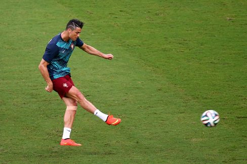 Cristiano Ronaldo of Portugal warms up prior to the FIFA World Cup Group G match between the United States and Portugal at Arena Amazonia in Manaus, Brazil, on June 22, 2014. Photographer: Elsa/Getty Images