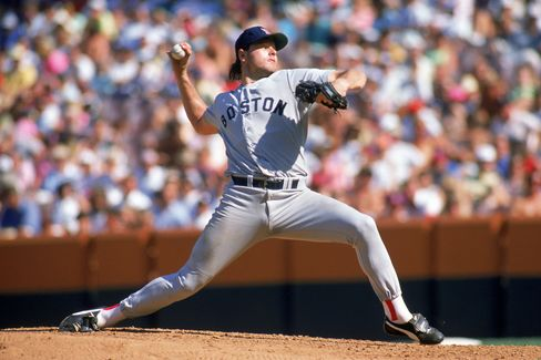 Roger Clemens, seen here pitching for the Boston Red Sox against the California Angels during a game in the 1989 MLB Season at Anaheim Stadium in Anaheim, California. Photographer: Scott Halleran/Getty Images