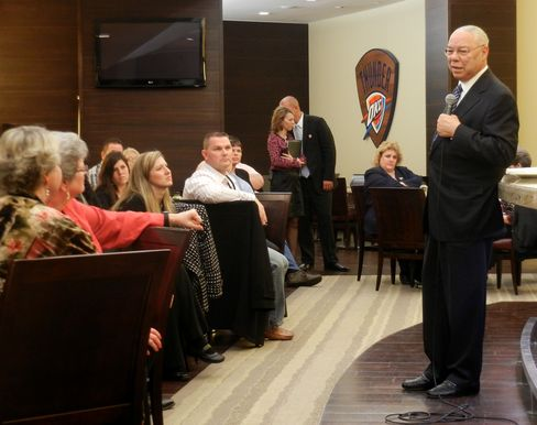 Gen. Colin Powell speaks at a