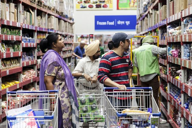 What does India have against the world's big grocery stores?