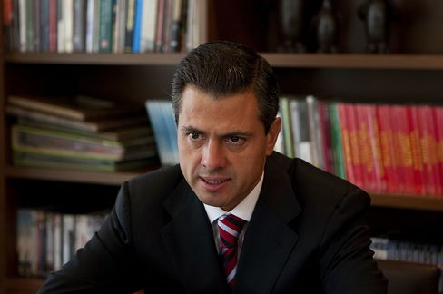 Enrique Pena Nieto, Mexico's next president speaks during an interview in Mexico City. Photographer: Susana Gonzalez/Bloomberg