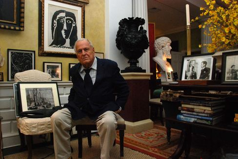 British art historian John Richardson poses with some of his art including a work by Pablo Picasso in New York, U.S., on April 23,2009. Richardson is considered an expert on the works of Pablo Picasso. Photographer: Paul Goguen/Bloomberg News