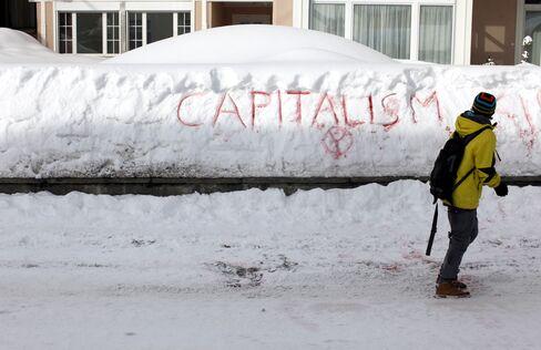 Graffiti in Davos on Jan. 24, 2012.Photographer: Simon Dawson/Bloomberg