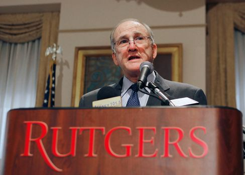 Rutgers University President Robert Barchi addresses the media during a press conference at Rutgers University announcing the resignation of Athletic Director Tim Pernetti in New Brunswick, New Jersey on April 5, 2013. Photographer: Andy Marlin/Getty Images