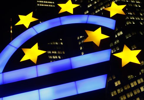 A Euro Sculpture Sits Outside the ECB Headquarters in Frankfurt