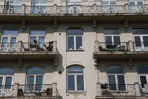 Balconies Hang Outside Residential Apartments in Copenhagen