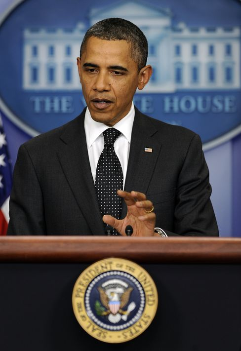 U.S. President Barack Obama speaks to the media following a supercommittee meeting in Washington, D.C., U.S., on Monday, Nov. 21, 2011. Obama blamed Republican lawmakers who
