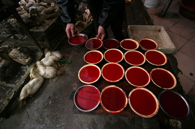 That's not raspberry Jell-O.Source: China Photos/Getty Images