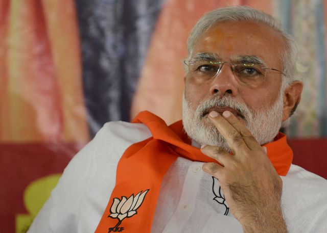 Narendra Modi, single (sort of) and proud of it. Photographer: Sam Panthaky/AFP/Getty Images