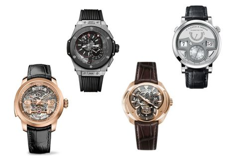 From left: Girard-Perregaux Minute Repeater Tourbillon with Gold Bridges, Hublot Big Bang Alarm Repeater, Franc Vila Inaccessible Tourbillon Minute Repeater, A. Lange & Söhne Zeitwerk Minute Repeater