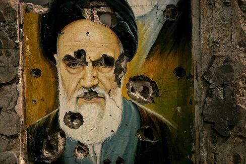 Iran's Ayatollah Ruhollah Khomeini Portrait in Lebanon