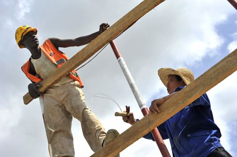 African and Chinese workers at the Mombasa Standard Gauge Railway construction site