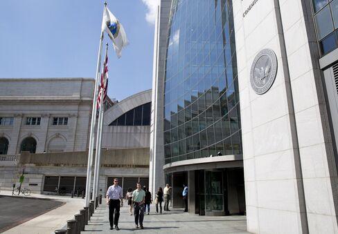 People walk outside the SEC headquarters in Washington, D.C.