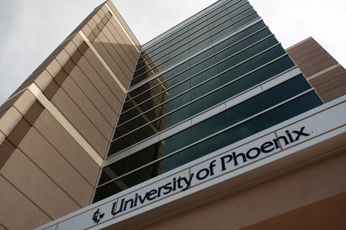 Shares of University of Phoenix parent Apollo Group Inc., the largest for-profit college chain by enrollment, rose as high as $97.93 in June 2004, as President George W. Bush's administration eased regulations that resulted in more federal financial aid flowing into the industry. Photographer: Joshua Lott/Bloomberg