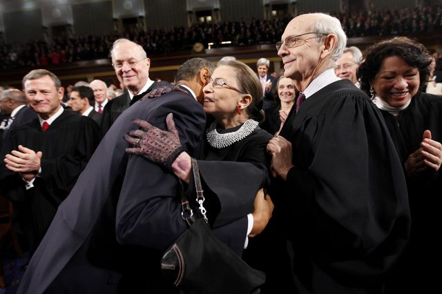 Ruth Bader Ginsburg, center, is 81. Stephen Breyer, right,is 75.