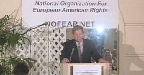 David Duke speaks at a 2000 meeting of his