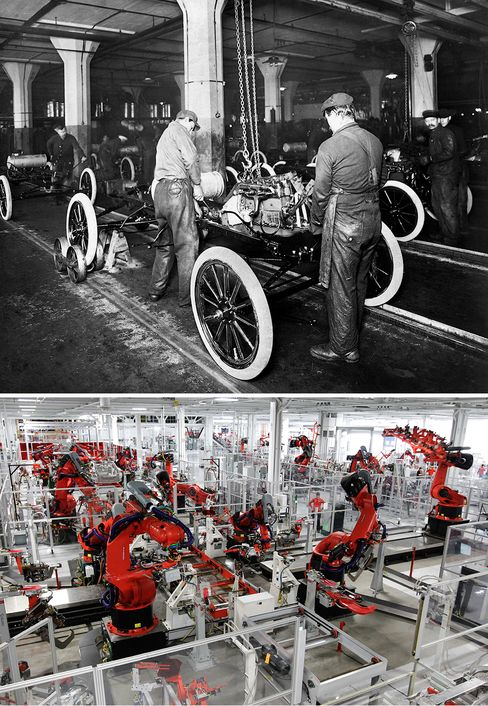 Ford's assembly line made mass-production possible. A hundred years later, precision robots have replaced line workers at Tesla's factory in Fremont, Calif.
