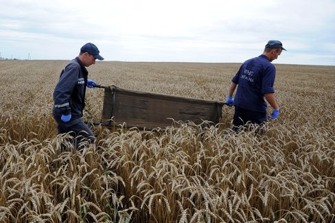Ukrainian Rescue Workers at Crash Site