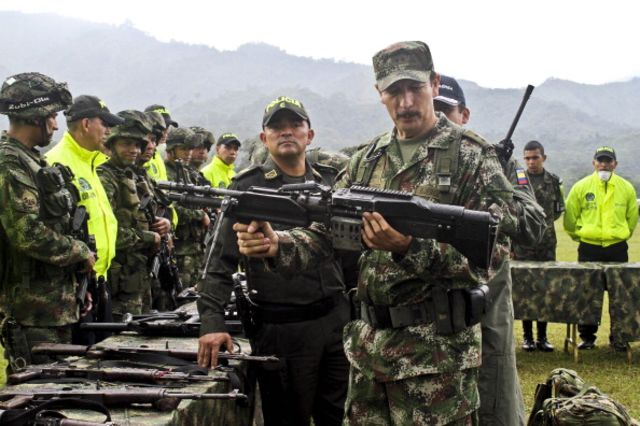 Colombian rebels may be talking peace, but this arms cache found by government soldiers seems more about war. Photogapher: Felipe Caicedo/AFP/Getty Images