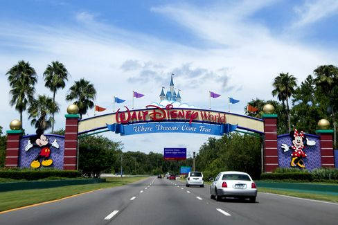 Vehicles Pass the Entrance to the Walt Disney World Resort
