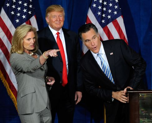 Ann Romney, Donald Trump and Mitt Romney during a news conference held by Trump to endorse Romney for president at the Trump International Hotel & Tower Las Vegas on Feb. 2, 2012. Photographer: Ethan Miller/Getty Images