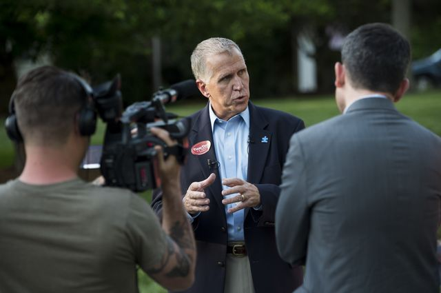 Thom Tillis, thespeaker of the North Carolina House, is the establishment Republican in today's primary.Photographer: Bill Clark/CQ Roll Call via Getty Images
