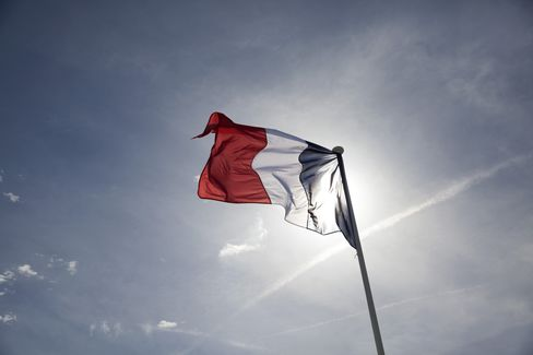 A French National Flag Flies in Paris