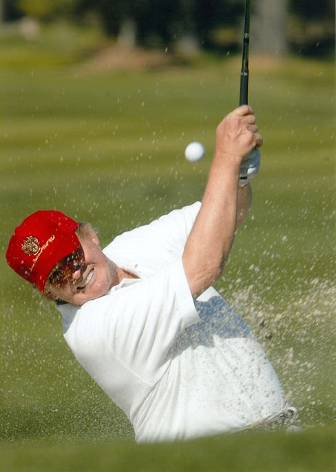 Donald J. Trump, the real estate tycoon turned celebrity, is betting his name will give a boost to newly acquired golf courses even as it fails to bolster condominium prices and ratings for