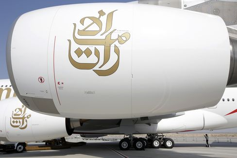 Emirates Airline Logo Seen on Engine Cowling of Airbus A380