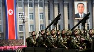 Members of the North Korean military take part in a parade in Pyongyang, on April 15, 2012.