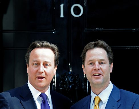 U.K. Prime Minister David Cameron and Deputy Nick Clegg