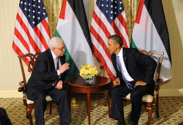 Obama and Abbas meeting in New York in 2011. How much pressure will Obama put on him today?  Photographer: Aaron Showalter/Pool via Bloomberg