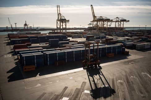 Gantry Cranes stand at the Commercial Port in Barcelona