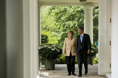 Germany's Chancellor Merkel and U.S. President Obama