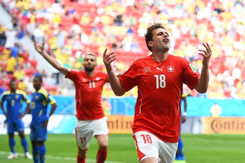 Switzerland's Admir Mehmedi Celebrates a Goal