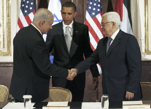 How'd this work out? Netanyahu, Abbas and Obama in September 2009. Photographer: John Angelillo/Pool via Bloomberg