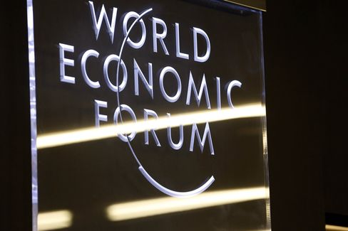 Lighting Reflects off a World Economic Forum Logo in Davos