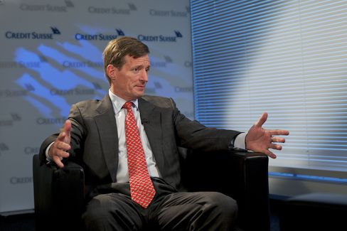 Brady Dougan, chief executive officer of Credit Suisse Group AG, during an interview in Zurich. Photographer: Gianluca Colla/Bloomberg
