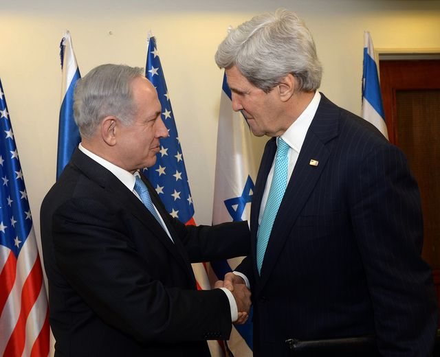 The peace process isn't dead. Netanyahu and Kerry in Jerusalem on March 31. Source: Israel Premiership Press Office/Anadolu Agency via Getty Images
