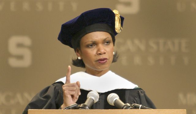 Sorry, Rutgers, not for you. CondoleezzaRice delivers a commencement address at Michigan State University in 2004.Photographer:Bill Pugliano/Getty Images
