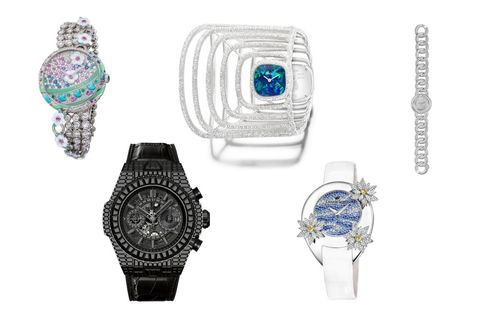 "From left: Fabergé Summer in Provence, Hublot Big Bang Unico ""10 Years"" Haute Joaillerie, Piaget Extremely Piaget Double Sided Cuff Watch, Champs Elysées Rive Blanche Nymphéas, Chaumet Joséphine Aigrette Impériale"