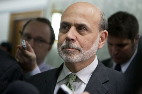 Ben S. Bernanke, chairman of the U.S. Federal Reserve, listens following a Finance Committee meeting on Capitol Hill in Washington, D.C., U.S., on Wednesday, Sept. 19, 2012. Photographer: Andrew Harrer/Bloomberg